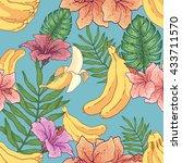 seamless hand drawn banana... | Shutterstock .eps vector #433711570