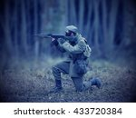 blue masked airsoft player  who ... | Shutterstock . vector #433720384