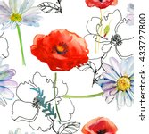 beautiful watercolor floral... | Shutterstock . vector #433727800