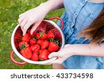 young woman holding fresh... | Shutterstock . vector #433734598