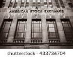 Small photo of NEW YORK, USA - Apr 28, 2016: American stock exchange AMEX in Lower Manhattan, NYC. Old photo stylization, film grain added. Sepia toned