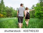 nature loving family makes walk ... | Shutterstock . vector #433740133