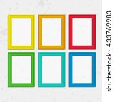set of colorful wooden frames.... | Shutterstock .eps vector #433769983