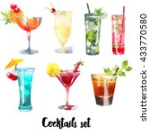 watercolor set of cocktails | Shutterstock . vector #433770580