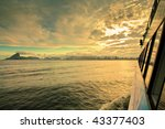views of Rio de Janeiro from ferry crossing over to Niteroi - stock photo