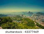 views Rio de Janeiro and Sugarloaf Mountain from Corcovado - stock photo