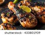 spicy grilled jerk chicken with ... | Shutterstock . vector #433801939