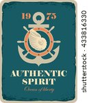 banner with an anchor  helm and ... | Shutterstock .eps vector #433816330