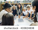 teaching studying library... | Shutterstock . vector #433824838