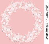 template with white lace frame... | Shutterstock .eps vector #433824904