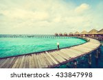 beautiful tropical maldives... | Shutterstock . vector #433847998