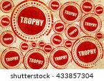 trophy  red stamp on a grunge...