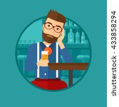 a sad hipster man sitting at... | Shutterstock .eps vector #433858294
