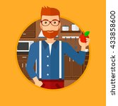 a hipster man with the beard... | Shutterstock .eps vector #433858600