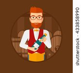 a hipster waiter with the beard ... | Shutterstock .eps vector #433858990