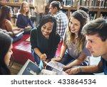 classmate classroom sharing... | Shutterstock . vector #433864534
