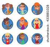 vector set of round blue frames ... | Shutterstock .eps vector #433881028