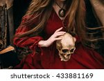 young witch in the autumn forest | Shutterstock . vector #433881169
