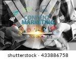 business holding a smart phone...   Shutterstock . vector #433886758