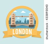 badge ribbon london bridge | Shutterstock .eps vector #433893040