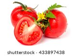 tomato with leaves flower water ... | Shutterstock . vector #433897438