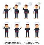 set of karate characters posing ... | Shutterstock .eps vector #433899793
