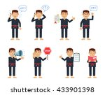 set of karate characters posing ... | Shutterstock .eps vector #433901398