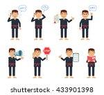 set of karate characters posing ...   Shutterstock .eps vector #433901398