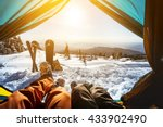 couple of snowboarder and skier ... | Shutterstock . vector #433902490