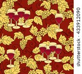 seamless pattern with grapes... | Shutterstock .eps vector #433912090