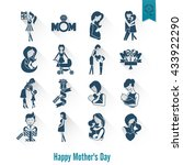 happy mothers day simple flat...   Shutterstock .eps vector #433922290