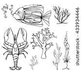 underwater black and white set... | Shutterstock .eps vector #433934446