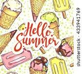 hello summer lettering card... | Shutterstock .eps vector #433941769