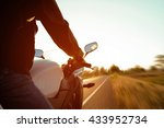 moped drivers on road at sunset ... | Shutterstock . vector #433952734