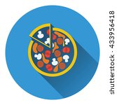 pizza on plate icon. flat...