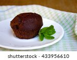 chocolate muffin with mint leaf ... | Shutterstock . vector #433956610