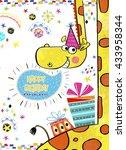 happy birthday greeting card... | Shutterstock . vector #433958344