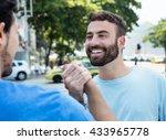 handshake of two friends in city | Shutterstock . vector #433965778