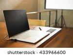 conceptual workspace  laptop...   Shutterstock . vector #433966600