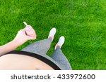 young girl drinking fruit... | Shutterstock . vector #433972600