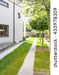 new white villa with green lawn ... | Shutterstock . vector #433978309