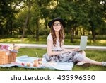 smiling pretty young woman in... | Shutterstock . vector #433996330