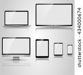 realistic mockup devices. tv... | Shutterstock .eps vector #434000674