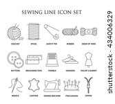 sewing icons. embroidery... | Shutterstock .eps vector #434006329