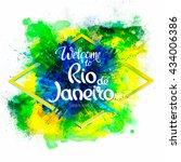 inscription welcome to rio de... | Shutterstock .eps vector #434006386