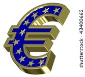 Gold-blue Euro sign with stars isolated on white. Computer generated 3D photo rendering. - stock photo
