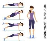 girl doing different exercises... | Shutterstock .eps vector #434010088