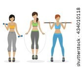 set of fitness girls working... | Shutterstock .eps vector #434010118