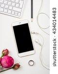 smartphone  computer keyboard... | Shutterstock . vector #434014483