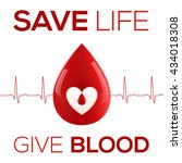 red vector realistic blood drop ...   Shutterstock .eps vector #434018308